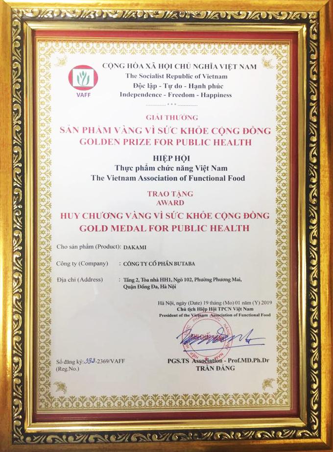giấy chứng nhận chất lượng kem chống lão hóa da dakami