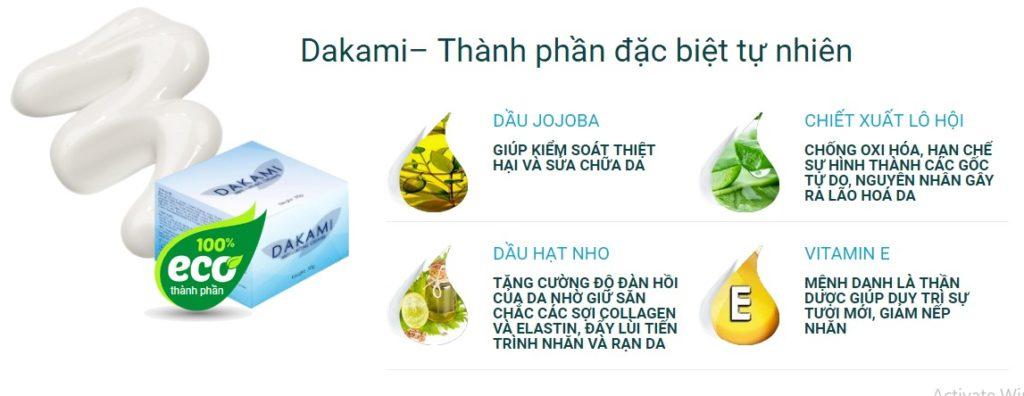 thành phần của kem dưỡng ngăn lão hóa da dakami